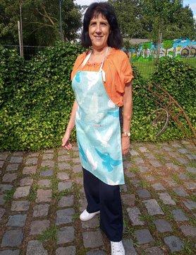 "Le grenier du lin Tablier ""colombes bleues"""