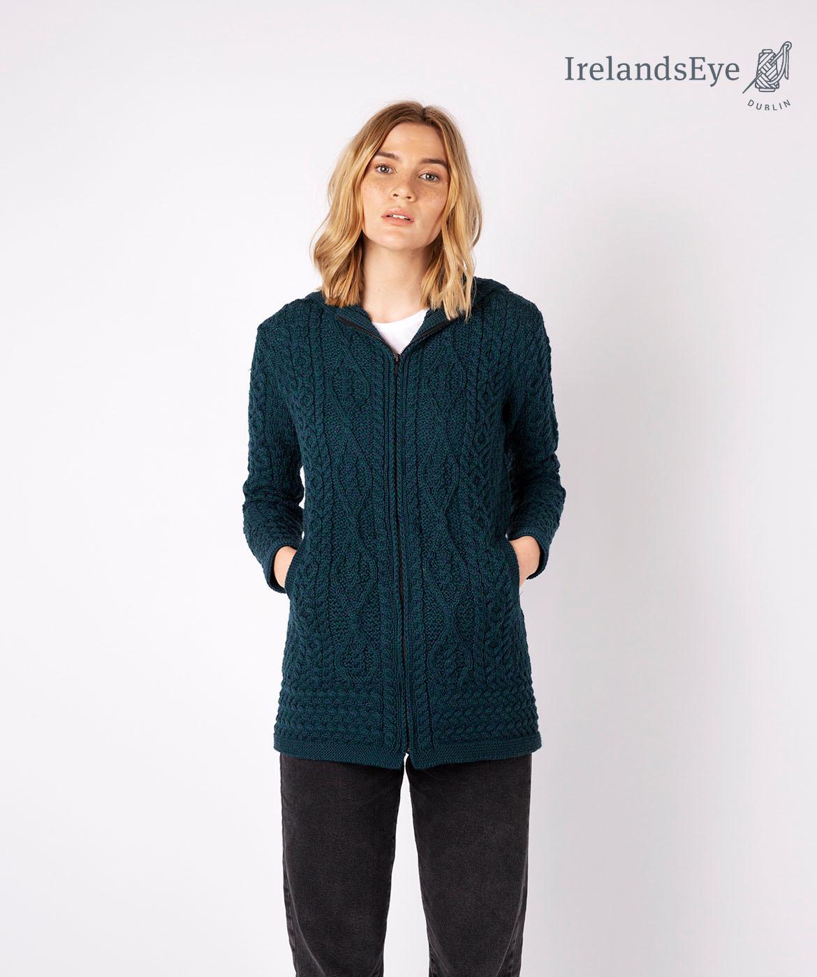 Veste longue laine irlandaise hazel A912