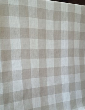 Natural and off-white check fabric