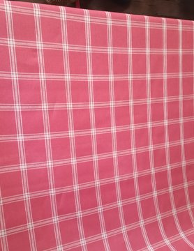 Linen fabric large red checks
