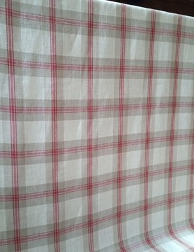 Linen fabric in large red, natural and ecru checks