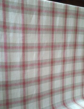 Tissu en lin  grands carreaux rouge, naturel et écru