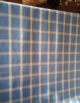 Tissu en lin  grands carreaux bleu et naturel