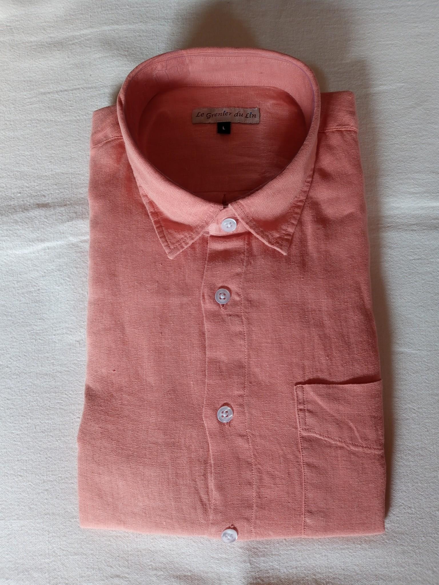Le grenier du lin Long sleeve linen shirt salmon