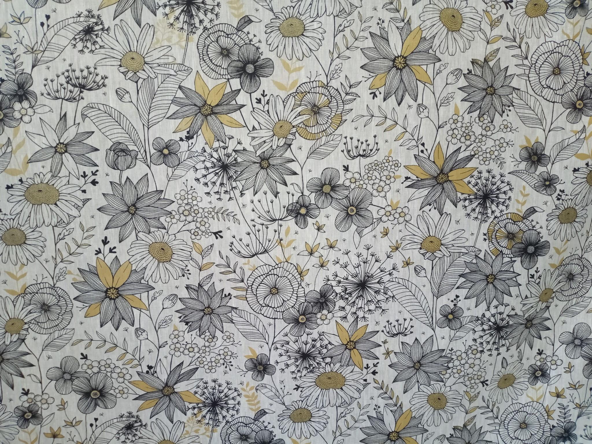 Linnen stof daisygold
