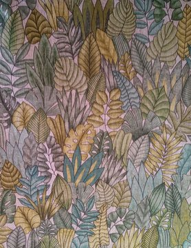 Green and gold linen foliage fabric