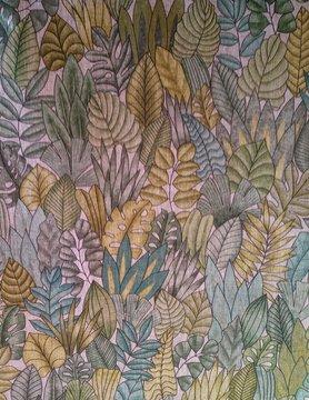 Tissu en lin feuillage vert et or