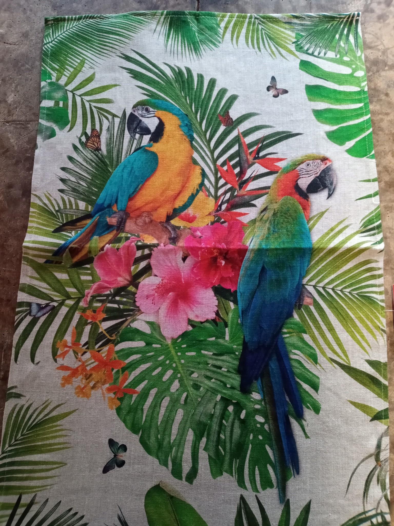 Theedoek zuiver linnen papegaai