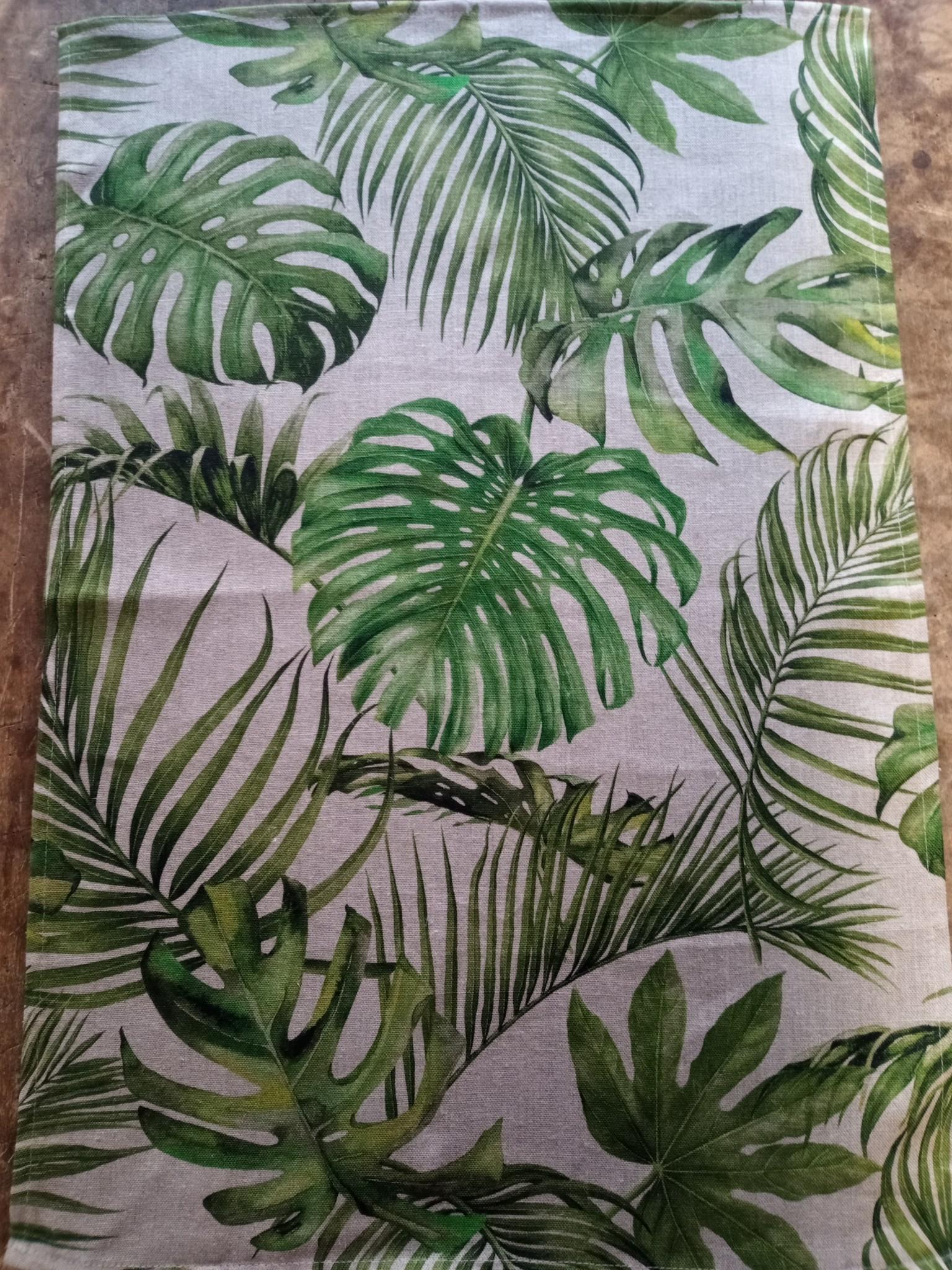 Linnen theedoek palmblad
