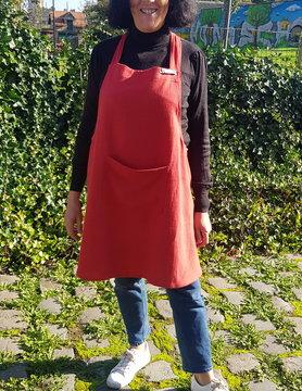 Le grenier du lin Japanese apron in red linen