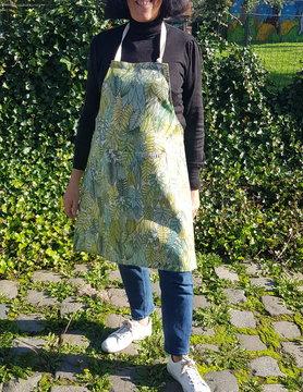 Le grenier du lin Tablier en lin feuillage vert