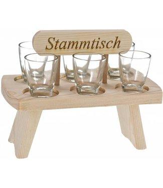 """Schnapsbank """"Stammtisch"""" inkl. Stamperl aus Fichten Holz"""