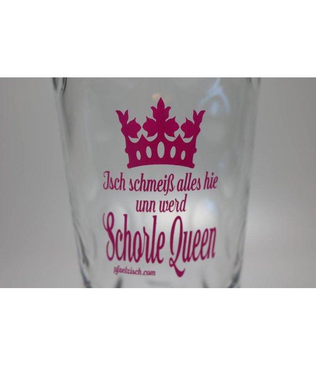 Dubbeglas bedruckt (Isch schmeiß alles hie unn werd Schorle Queen)