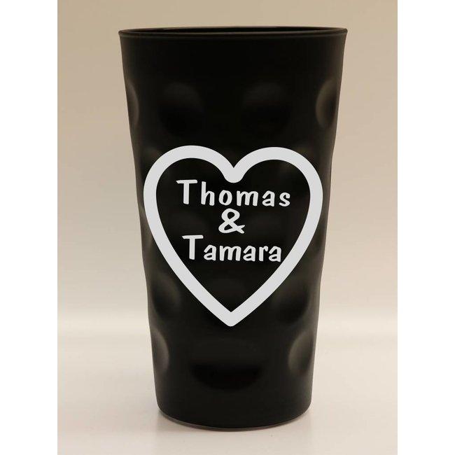 Dubbeglas schwarz mit Herzgravur