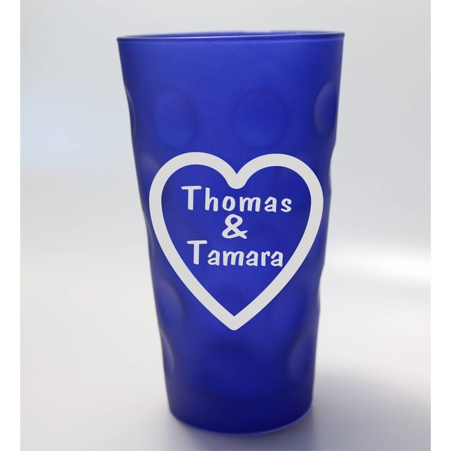 Dubbeglas blau mit Herzgravur