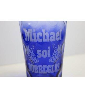 Dubbeglas kobaltblau graviert mit Name