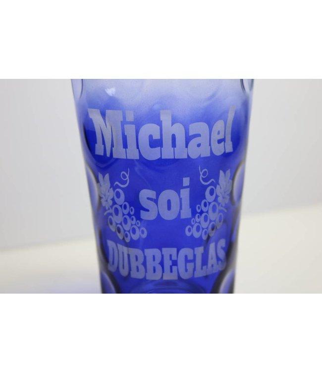 Dubbeglas kobaltblau (3/4 farbig) graviert mit Name
