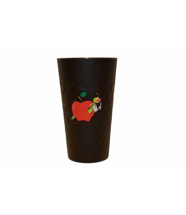 Apfelweinglas schwarz mit Druck (Apfelwurm)
