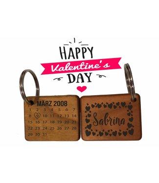Valentinstag Schlüsselanhänger mit Datum & Name