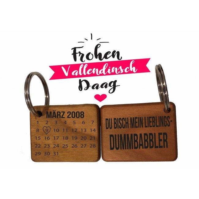 Valentinstag Schlüsselanhänger mit Datum & Lieblings-Dummbabbler