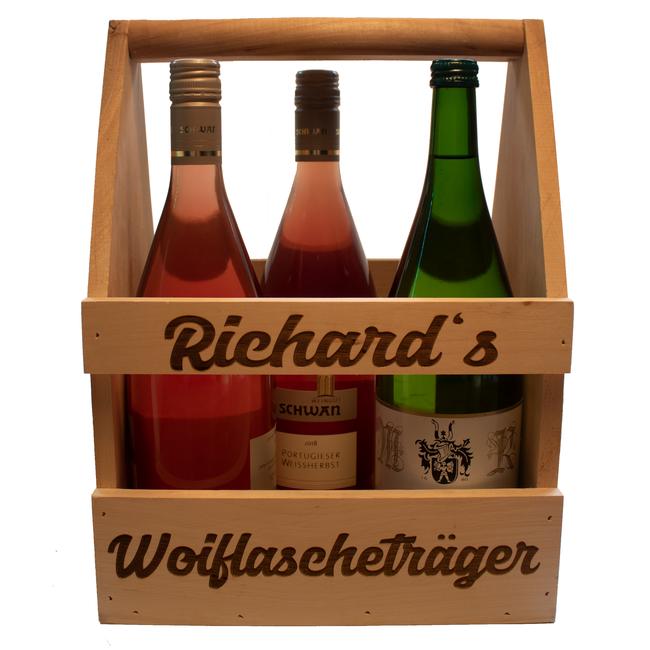 Flaschenträger  personalisiert mit Name - Text