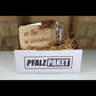 Pfalzpaket   Schneidebrett & Dubbeglas mit Name