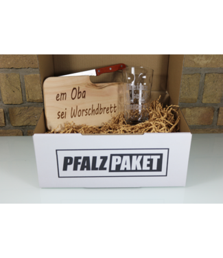 Pfalzpaket | Schneidebrett & Dubbeglas mit Name