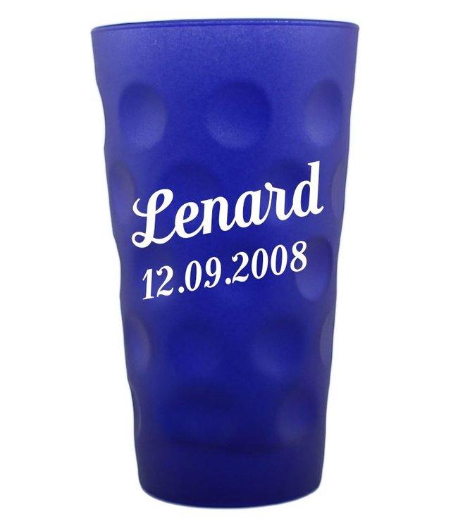 Dubbeglas blau matt mit Gravur