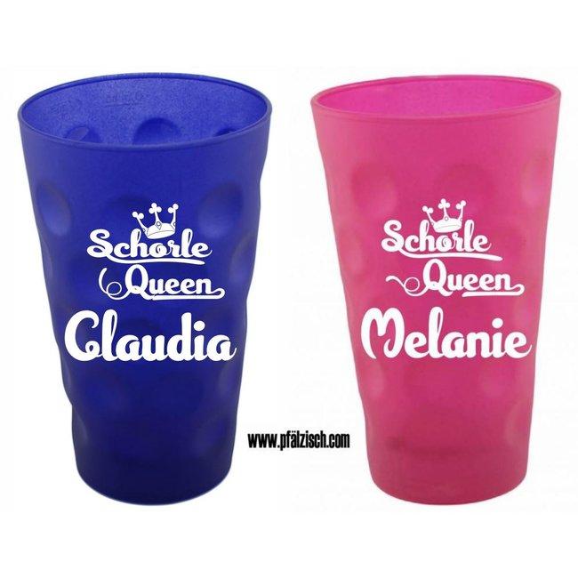 Schorle Queen Dubbeglas mit Name (pink und blau)