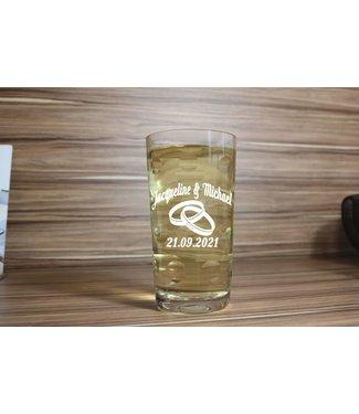 Hochzeits - Dubbeglas 1 Liter mit Gravur (Mundgeblasen)