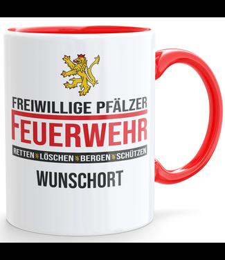 Freiwillige Pfälzer Feuerwehr Tasse + Wunschort