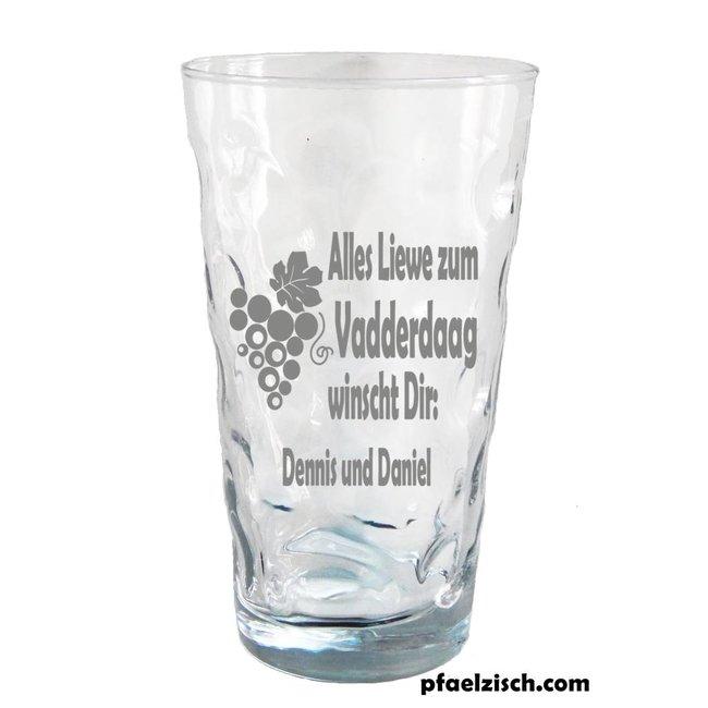Vatertag/Muttertag Dubbeglas mit Namensgravur
