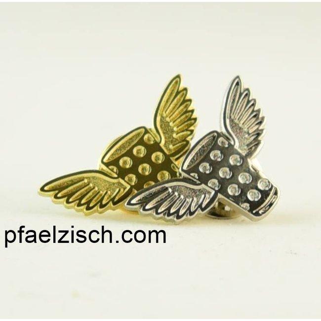 DUBBEGLAS mit Flügel, Pin/Anstecker (Gold & Silber)
