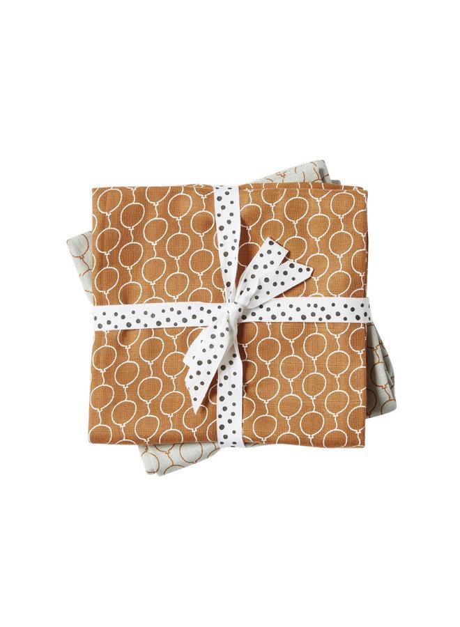 Burp cloth, 2-pack, Balloon, Golden
