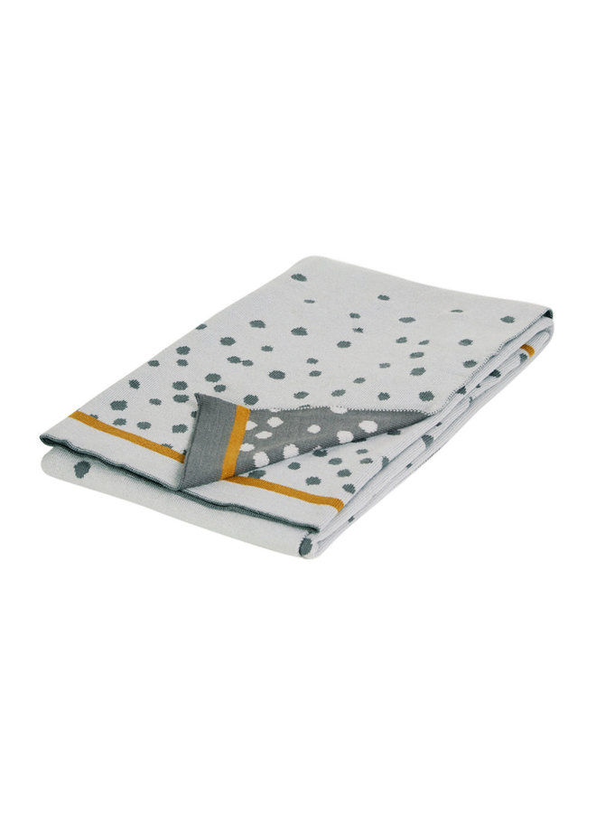 Knitted blanket, Happy dots, Grey