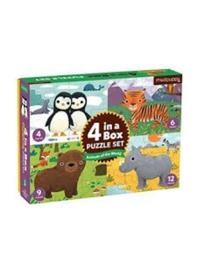 """Puzzeldoos 4-in-1 """"Animals of the World"""""""