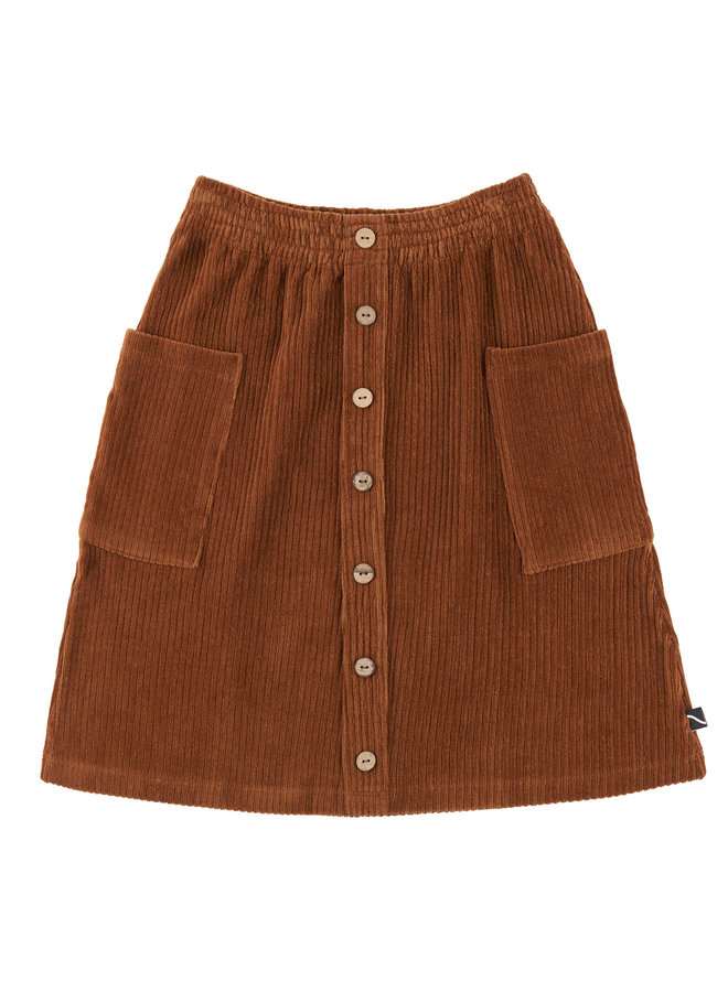 Basics - midi skirt with buttons and pockets (brown)