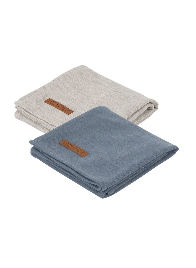 Swaddles Pure Blue / Grey 70 x 70