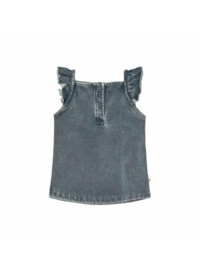 Knitted Denim | Ruffle Singlet