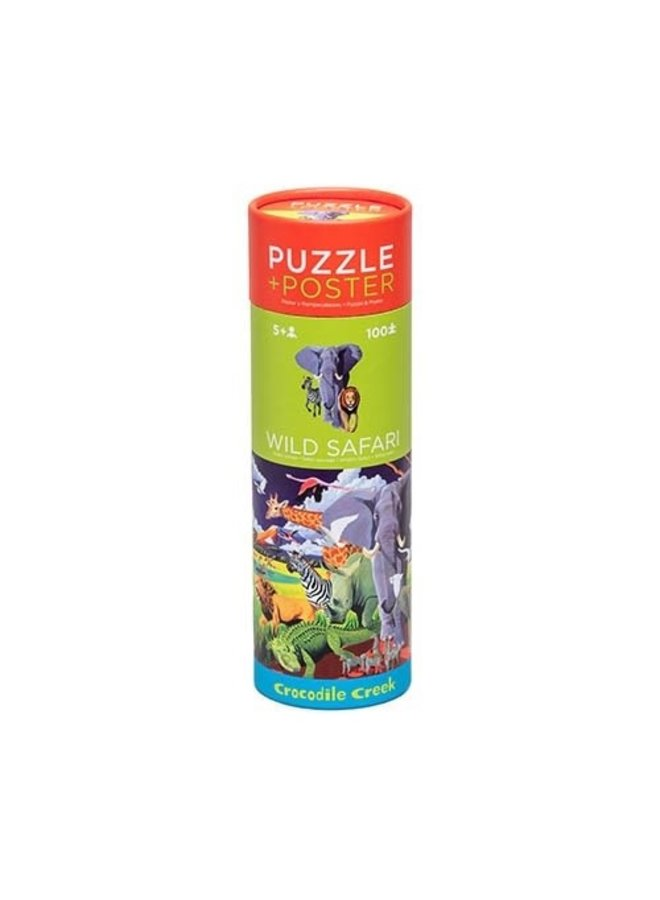 Puzzel + Poster 100st. - Wild Safari