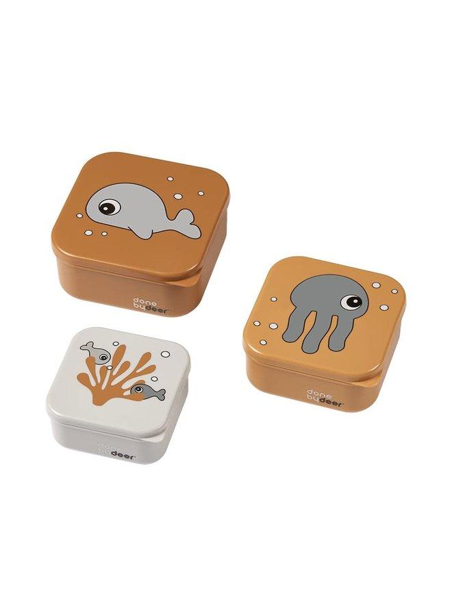 Snack Box 3pc. - Sea friends - Mustard