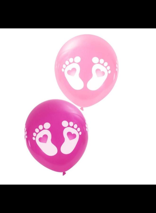 Ballonnen met voetjes - Roze, 8 stuks
