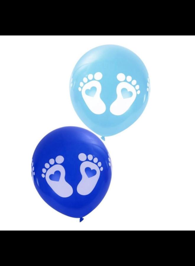 Ballonnen met voetjes - Blauw, 8 stuks