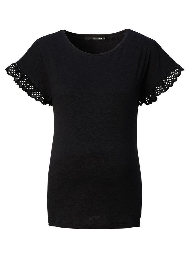 T-Shirt Broderie, groen of zwart