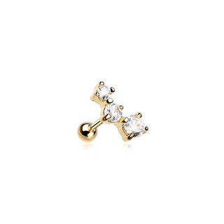 Glitter Curve Cartilage piercing - gold plated