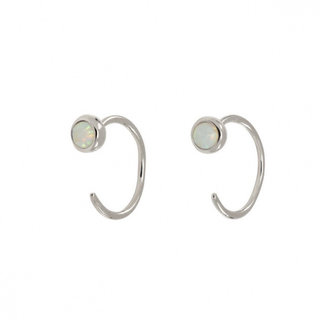 Hugging oorringetjes opal - zilver