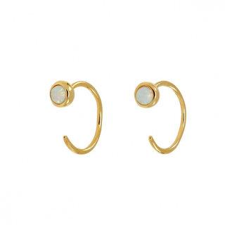 Hugging oorringetjes opal - goud