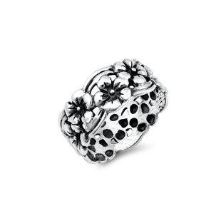 Ring Boho Silver Flowers - 925 zilver