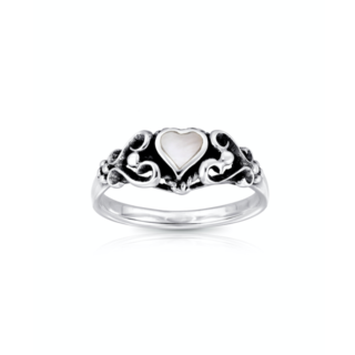 Boho ring Hearts Shell - 925 zilver
