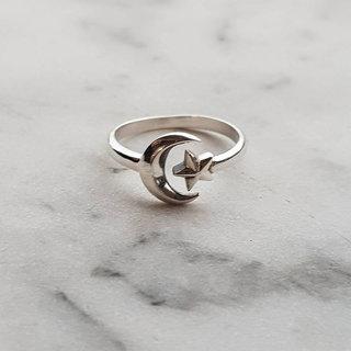 Boho ring maan en ster - 925 zilver